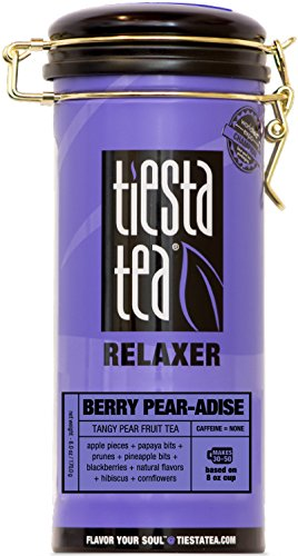 Tiesta Tea Berry Pear-adise Tangy Pear Fruit Tea, 50 Servings, 6 Ounce Tin - Caffeine Free, Loose Leaf Herbal Tea Relaxer Blend - Zhena Tin Gypsy