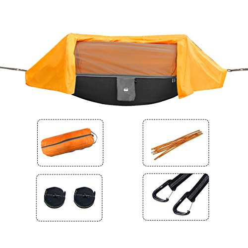 UBOWAY Camping Hammock with Mosquito Net and Rain Cover Lightweight Parachute Hammocks for Camping, Hiking, Travel, Outdoors and Backpacking 106.3' x 55.1'