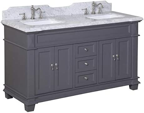 Elizabeth 60-inch Double Bathroom Vanity Carrara Charcoal Gray Includes Charcoal Gray Cabinet with Authentic Italian Carrara Marble Countertop and White Ceramic Sinks