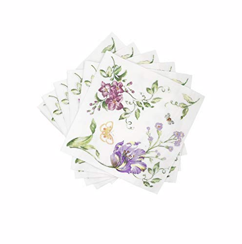WallyE Decoupage Napkins, Flower and Butterfly Luncheon Napkins for Bridal Shower Tea Party or Wedding,20 Pack