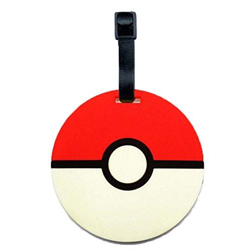 Pokemon Pikachu Designed PVC Embossed Luggage Id Bag Baggage Name Travel Tag Go (Standard, Pokemon Ball)