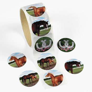Stickers 100pc Fun Express Stationery Mare /& Foal Stickers Birthday Roll for Birthday 1 Piece Stickers