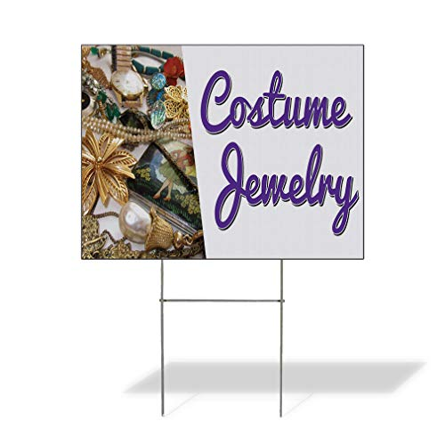 Plastic Weatherproof Yard Sign Costume Jewelry Business Gold Watch,Necklace and Golden Flower Jewelry Stores Black for Sale Sign Multiple Quantities Available 18inx12in One Side Print One Sign ()