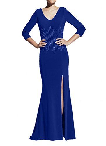 Partykleider Braut Abendkleider Elegant Royal Brautmutterkleider Blau Blau mit La Navy Pailletten Trumpet Chiffon Marie qn8R4R