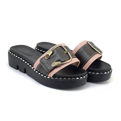 Qin Women's nbsp;Flip Chunky Casual Sandals Heel amp;X nbsp; Flop Pink nTrS6xZn