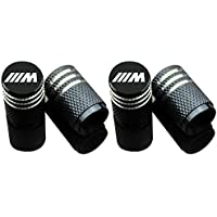 Car Tire Air Valve Caps- Auto Wheel Tire Dust Stem Cap Cover with Logo Emblem Waterproof Dust-Proof Universal fit for Cars, SUV, Truck, Motorcycles 4 Pieces BMW M Black VC-013