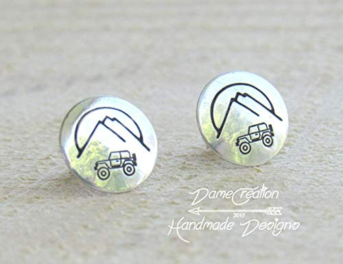 Jeep, Mountain, Stud Earrings, Gifts for her, Sterling Silver Earrings, Jeep Wrangler Gifts, Mothers Day Gifts ()