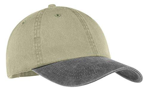 Port & Company Men's Two Tone Pigment Dyed Cap OSFA Khaki/Charcoal