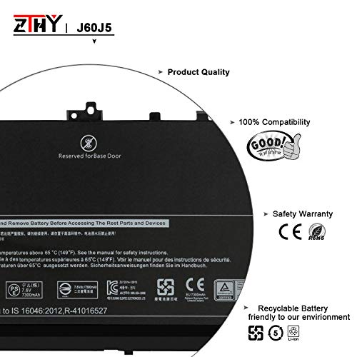 ZTHY J60J5 Laptop Battery Replacement for Dell Latitude E7270 E7470 Series  Notebook R1V85 451-BBSX 451-BBSY 451-BBSU MC34Y 242WD PDNM2 7 6V 55WH