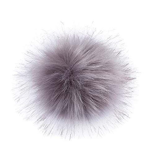 Craftdady 1pc Darkgray Fluffy Pompom Hat Buttons Sewing Accessories, Faux Fake Fur Hair Ball, for Knitting Hats Shoes Scarves Bag Woolen Knit Cuffed Beanie Ski Winter Cap Accessories 10cm ()