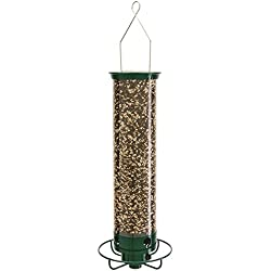 Droll Yankees Squirrel Proof Bird Feeder Spinner, Yankee Flipper Motorized Hanging Feeder, 28-Inch, 4 Ports, 5 lb capacity, Green, YF