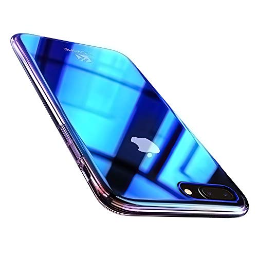 (FLOVEME iPhone 8 Plus / 7 Plus Case, Luxury Slim Fit Gradual Colorful Gradient Change Color Ultra Thin Light Bumper Clear for Apple iPhone 7/8 Plus Case Hard Back Cover)