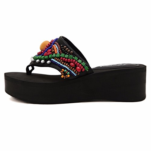Fashion Summer New Women Vintage Mother Day Sandals Slipper Wedge Heel Shoes Black gMOrkX6