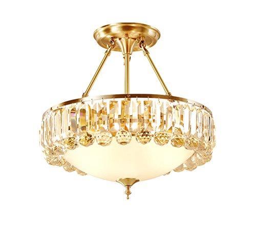 Vintage Art Deco Brass - NOXARTE Crystal Chandelier Brass Material Ceiling Light Top K9 Crystal Raindrop Chandelier Flush Mount Light Rustic Vintage Round Glass Lampshape Pendant Lamp Lighting Fixture for Living Dining Room