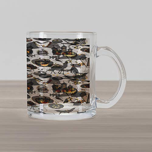 Ambesonne Vintage Halloween Glass Mug, Halloween Cartoon Jack o Lantern Tombstone Skulls and Bones, Printed Clear Glass Coffee Mug Cup for Beverages Water Tea Drinks, Pale Grey Multicolor]()