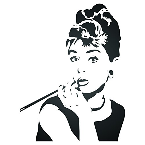 il - 10 x 13 inch (M) - Reusable Actress Star Breakfast at Tiffany's Wall Stencils for Painting - Use on Poster Scrapbook Journal Walls Floors Fabric Furniture Glass Wood etc. (Actress Audrey Hepburn)