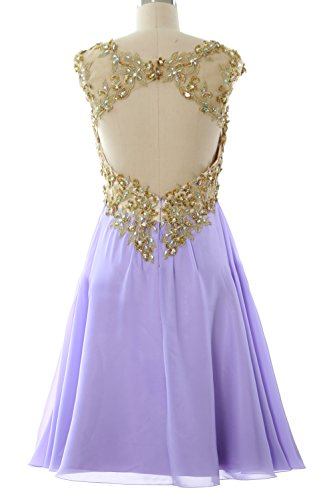 MACloth Dress Women Homecoming Ball Sleeve Gown Lace Short Cap Gold Chiffon Silber Prom 66rdzw