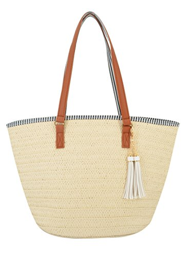 Agneta Women's Simple and Fashionable Tassel Tote One-Shoulder Straw Woven Shoulder Bag (Beige+White Tassel) by Agneta