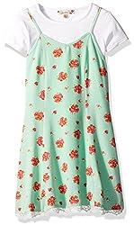 Speechless Big Girls' Floral Slip Dress W/ Choker, Mint/Red, 7