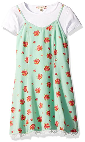 Girls Casual Dress Slip (Speechless Big Girls' Floral Slip Dress With Choker, Mint/Red, 8)