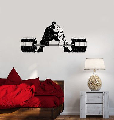Vinyl Decal Gym Fitness Bodybuilding Strong Man Sports Wall Stickers (vs3359)