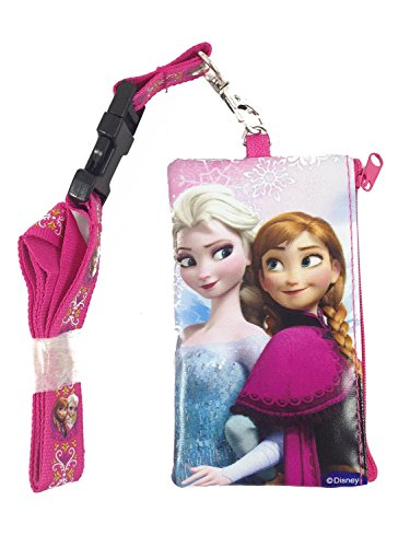 Disney Frozen Elsa and Anna Lanyard Coin Purse Wallet / Id BAG (Pink)