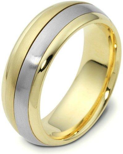 (18 Karat 7mm Two-Tone Gold Designer SPINNING Wedding Band Ring - 575)