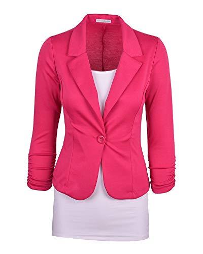 Femme lgant Blazer  Manches Longues Slim Fit Ajust Manteau Blouson Jacket Rose
