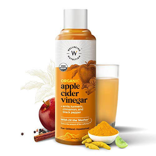 Wellbeing Nutrition USDA Organic Himalayan Apple Cider Vinegar (2X Mother) with Amla (Vitamin C for Immunity), Turmeric, Cinnamon & Black Pepper | Raw, Unfiltered, Unpasteurized – 500ml