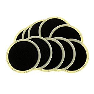 Dovewill 10 Pieces 25mm Motor Bicycle Bike Tyre Tire Inner Tube Puncture Rubber Patches Repair Kit without Any Glue