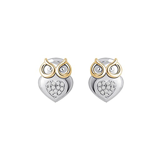 Christmas Gifts Real Diamond Earring for Women Owl Design 925 Sterling Silver White Yellow Plating Diamond Accents (.07cttw, I-J Color, I2-I3 Clarity) by Store Indya