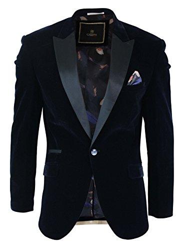 Cavani Mens Soft Velvet Black Navy 1 Button Dinner Jacket Tuxedo Blazer Smart Casual Fit Navy (Satin Velvet Blazer)