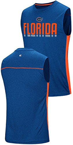 (Florida Gators Mens Polyester Sleeveless T Shirt-Royal, Hanging Curveball (Large))