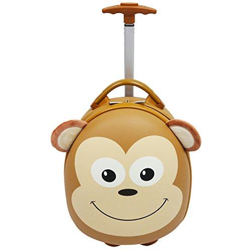 "Emmzoe Kids & Toddler 15"" Carry On Animal Trolley Hardshell Luggage - Lightweight EVA, Dent Proof, Adjustable Handle for Age 2+ (Mooch Monkey)"