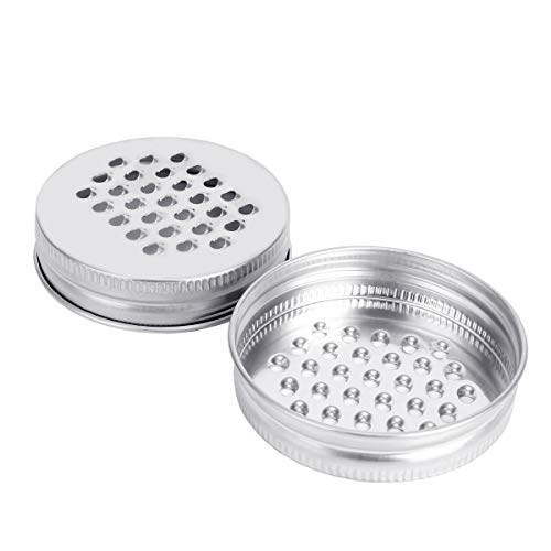 Grater Lid, Aieve Stainless Steel Cheese Grating Lid Cheese Grater Lid Vegetables Shredder Lid for Regular Mouth Mason Jars, Vegetable Chopper Cover Kitchen Cutter Lid for Potato,Cheese,Carrot(2 Pack)
