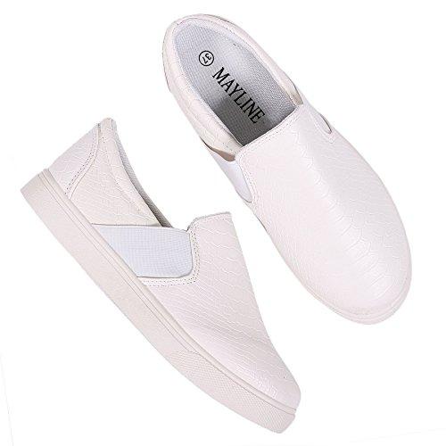 Bianco delle Faux da Croc tela Plates Donne scarpe Skater in dimensione da bianco infilare ginnastica motivo Scarpe piatti atq7SwA