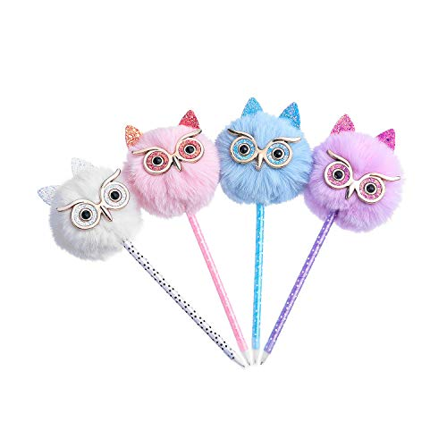 Yorki 4 Pack Owl gift Pen Colorful Fluffy Ball Pen for Easter and Party Supplies ()
