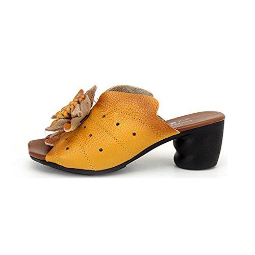Confort Plataforma Peep Amarillo Negro Flor Tacones Cuñas Las Vestido Retro Zapatillas Sandalias Mujeres Sandalias Toe HYnq1