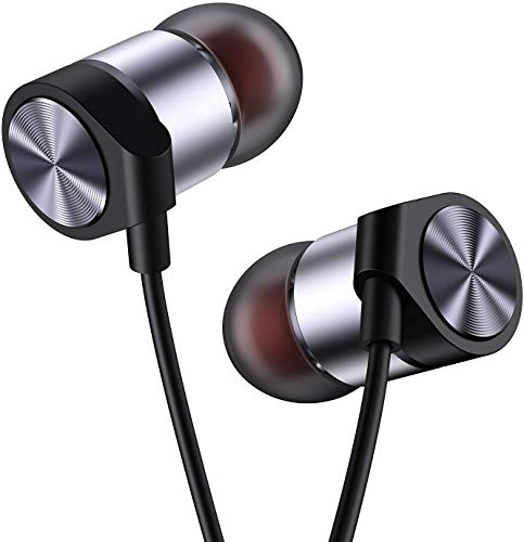 in Ear Headphones Wired Earbud with Line-in Microphone Heavy Bass Dynamic Driver Earphones with Non Tangle Fabric Braid for Running Gym Android Phones Music Player Dark Chrome E40