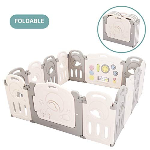 Cloud Castle Foldable Playpen by Classy Kiddie, Baby Safety Play Yard with Whiteboard and Activity Wall, Indoors or Outdoors (14 Panel) from Classy Kiddie
