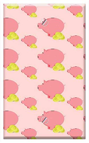 Single-Gang Blank Wall Plate Cover - Piggy Bank Piggy Money Coins Savings Save - Color Blanks Piggy Bank