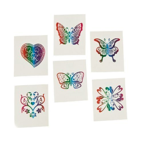 Fun Express 72 Rainbow Glitter Temporary Tattoos/Party Favor