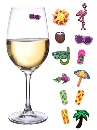 Summer Beach & Sea Nautical Magnetic Wine Glass Charms or Cocktail Markers for Making Your Drink Unique - Set of 12 Summer Charms