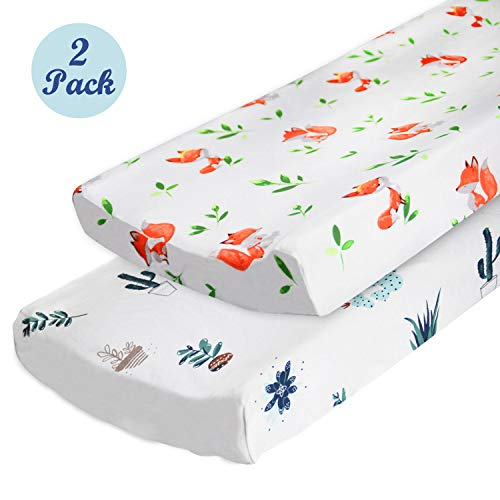 - 2-Pack Changing Pad Cover Set, 100% Cotton Breathable Changing Table Covers Cradle Sheets for Baby Boys Girls, Fitted Standard or Contoured Changing Pads