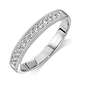 Wedding Band Diamond .195 CTW Round I color SI1 clarity 10k White Gold Ring MADE IN THE USA