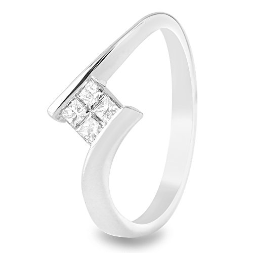 0.25 Carat Natural Diamond 14K White Gold Engagement Ring for Women Size (0.25 Ct Invisible Setting)