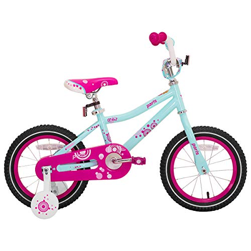 JOYSTAR 14 Inch Girls Bike with Training Wheels for 3 4 5 Years Old Kids, Starter Bike with for Early Rider, Birthday Gift, Blue Pink (Bike In 14 Girls)