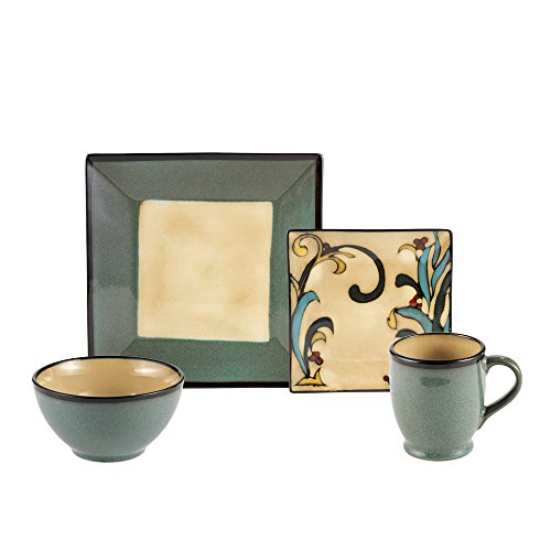 Gourmet Basics Belmont Blue Leaves Square 32 Piece Dinnerware, Service for 8