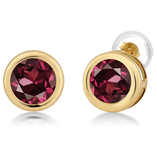 Gem Stone King 2.00 Ct Round 6mm Red Rhodolite Garnet 14K Yellow Gold Stud Earrings