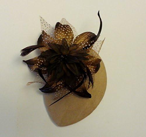 Cappello fascinator vintage anni 40 e 50 cappello teardrop con piume Pelle scamosciata marrone caff/è o beige carne
